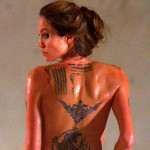 Angelina Jolie Upper Back Tattoo