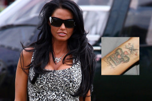 katie price tattoo removal 300x200 6 Bad Celebrity Tattoos That They Should Remove